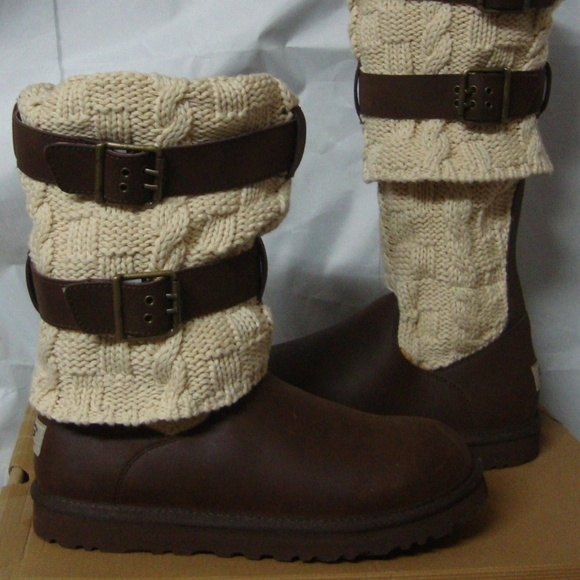3ef79b748dc UGG Chocolate Brown Cassidee Tall Cable Knit Sz 7 NWT